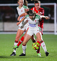 Sari Kees (2 OHL), Davinia Vanmechelen (25 Standard) and Estee Cattoor (11 OHL) fight for the ball during a female soccer game between Oud Heverlee Leuven and Standard Femina De Liege on the 10th matchday of the 2020 - 2021 season of Belgian Womens Super League , sunday 20 th of December 2020  in Heverlee , Belgium . PHOTO SPORTPIX.BE | SPP | SEVIL OKTEM