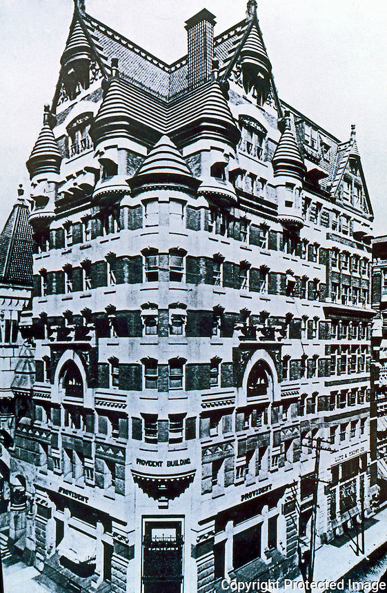 Frank Furness: 401-409 Chestnut. Provident Building, 1879. Demolished 1959. Bavarian style. Philadelphia. Ref. only.