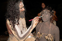 Body painting for festival Easter Island during Tapati Festival Rapa Nu