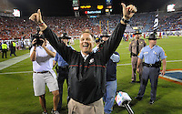 Kelly.Jordan@jacksonville.com--102712--Georgia head coach Mark Richt raises his hands in victory as he visits the Georgia crowd in the south end zone following their 17-9 win over the Gators during the annual Georgia-Florida football game at EverBank Field Saturday October 27, 2012 in Jacksonville, Florida.(The Florida Times-Union, Kelly Jordan)