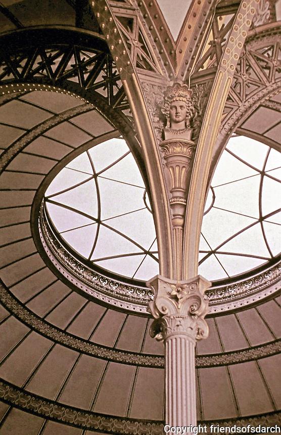 Salle de Travail (ceiling detail), Bibliotheque Nationale, Paris. Designed by Architect Henri Labrouste.