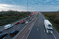 Pictured: Long queues of cars at the Severn Bridge tolls on the westbound carriageway of the M4 in south Wales, UK. Friday 14 December 2018<br /> Re: Work to remove the toll booths on the Severn bridges has commenced as the two motorway crossings into south Wales are becoming toll free.<br /> Motorists have been warned their journeys into south Wales may be affected as the M4 Prince of Wales bridge will shut westbound for the next three nights.<br /> The tolls have been in place since the first crossing opened in 1966, but will be removed on Monday.