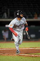 Scottsdale Scorpions Heliot Ramos (24), of the San Francisco Giants organization, runs toward first base during an Arizona Fall League game against the Mesa Solar Sox on September 18, 2019 at Sloan Park in Mesa, Arizona. Scottsdale defeated Mesa 5-4. (Zachary Lucy/Four Seam Images)