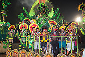 Imperatriz Leopolinense Samba School, Carnival, Rio de Janeiro, Brazil, 26th February 2017. The 'Beautiful Monster' - Belo Monstro - float. The Kayapo Indians are at the front of the float; from left: Beptirití Kayapó, Beptuk Metuktire, Raoni Metuktire, Megaron Txucarrhamãe, Bemoro Metuktire and Kreton Panará.