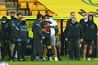 20th April 2021; Carrow Road, Norwich, Norfolk, England, English Football League Championship Football, Norwich versus Watford; Troy Deeney of Watford celebrates the 0-1 win with Andre Gray Strictly Editorial Use Only. No use with unauthorized audio, video, data, fixture lists, club/league logos or 'live' services. Online in-match use limited to 120 images, no video emulation. No use in betting, games or single club/league/player publications