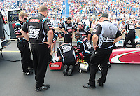 Jul, 10, 2011; Joliet, IL, USA: NHRA top fuel dragster driver Rod Fuller after aborting his first round race due to a flat front tire during the Route 66 Nationals at Route 66 Raceway. Mandatory Credit: Mark J. Rebilas-
