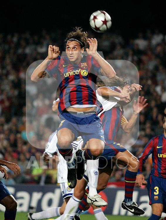 FC Barcelona's Zlatan Ibrahimovic during the UEFA Champions League match.September 29 2009. (ALTERPHOTOS/Acero).