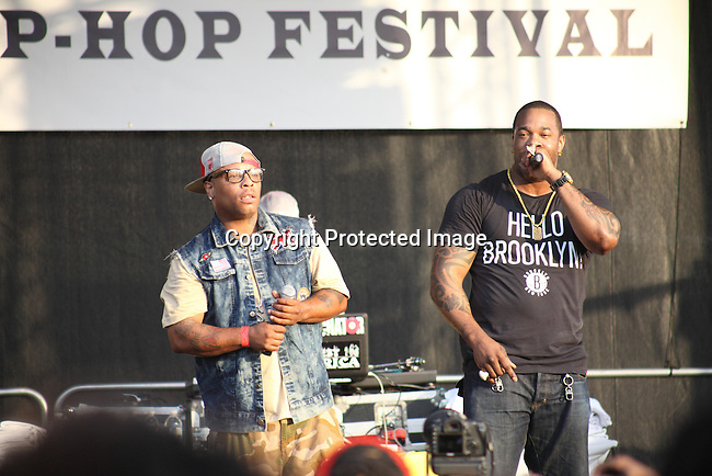 "Spliff Star and Busta Rhymes Perform at the Final Day of 2012 Brooklyn Festival ""Busta Rhymes & Friends"" Held at the Brooklyn Bridge Park, NY 7/14/12"