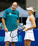 Chanel Simmonds talks strategy with Explorers' coach Brent Haygarth at the Freedoms vs. Explorers WTT match in Villanova, PA on July 16, 2012