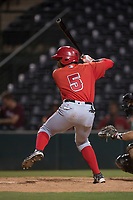 AZL Angels left fielder Johan Sala (5) at bat during an Arizona League game against the AZL Diamondbacks at Tempe Diablo Stadium on June 27, 2018 in Tempe, Arizona. The AZL Angels defeated the AZL Diamondbacks 5-3. (Zachary Lucy/Four Seam Images)