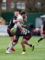 Oliver Leyland of London Broncos and Jacob Jones of London Broncos during the Betfred Challenge Cup match between London Broncos and York City Knights at The Rock, Rosslyn Park, London, England on 28 March 2021. Photo by Liam McAvoy.