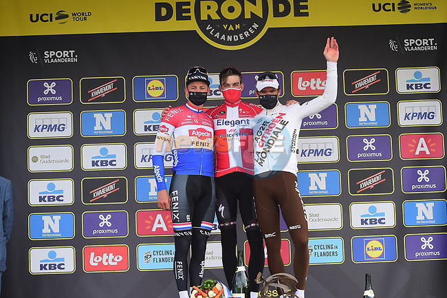 Danish Champion Kasper Asgreen (DEN) Elegant-Quick Step wins The 2021 Tour of Flanders, with Dutch Champion Mathieu van der Poel (NED) Alpecin Fenix in 2nd place and Olympic Champion Greg Van Avermaet (BEL) AG2R Citroen Team running 254.3km from Antwerp to Oudenaarde, Belgium. 4th April 221.  <br /> Picture: Serge Waldbillig | Cyclefile<br /> <br /> All photos usage must carry mandatory copyright credit (© Cyclefile | Serge Waldbillig)