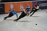 SPEEDSKATING: DORDRECHT: 05-03-2021, ISU World Short Track Speedskating Championships, QF 1500m Men, Christov Schubert (GER), Adil Galiakmetov (KAZ), ©photo Martin de Jong
