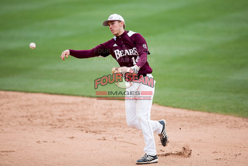 Eric Cheray #14 of the Missouri State Bears throws to first base during a game against the Wichita State Shockers at Hammons Field on May 5, 2013 in Springfield, Missouri. (David Welker/Four Seam Images)