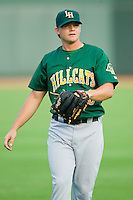 Lynchburg Hillcats starting pitcher Jarett Miller (18) warms up in the outfield prior to the game against the Winston-Salem Dash at BB&T Ballpark on August 5, 2013 in Winston-Salem, North Carolina.  The Dash defeated the Hillcats 5-0.  (Brian Westerholt/Four Seam Images)