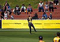 Wellington's Lauchie Johns catches Iftikhar Ahmed during the t20 cricket match between the Wellington Firebirds and Pakistan at Basin Reserve in Wellington, New Zealand on Tuesday, 29 December 2020. Photo: Dave Lintott / lintottphoto.co.nz