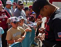 OMAHA, NE - JUNE 21: Signing autographs after a game between University of Arizona and Stanford Baseball at TD Ameritrade Park Omaha on June 21, 2021 in Omaha, Nebraska.