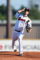 Nashville Sounds pitcher Mike Fiers (20) delivers a warmup pitch during the first game of a double header against the Omaha Storm Chasers on May 21, 2014 at Herschel Greer Stadium in Nashville, Tennessee.  Nashville defeated Omaha 5-4.  (Mike Janes/Four Seam Images)