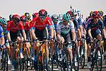 Bahrain-Victorious on the front during Stage 1 of the 2021 UAE Tour the ADNOC Stage running 176km from Al Dhafra Castle to Al Mirfa, Abu Dhabi, UAE. 21st February 2021.  <br /> Picture: Luca Bettini/BettiniPhoto | Cyclefile<br /> <br /> All photos usage must carry mandatory copyright credit (© Cyclefile | Luca Bettini/BettiniPhoto)