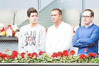 Manu Carreño and his son during Mutua Madrid Open Tennis 2016 in Madrid, May 07, 2016. (ALTERPHOTOS/BorjaB.Hojas) /NortePhoto.com