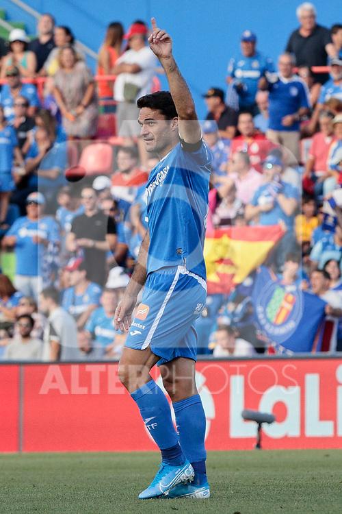 Jorge Molina of Getafe CF celebrates goal during La Liga match between Getafe CF and Deportivo Alaves at Colisseum Alfonso Perez in Getafe, Spain. August 31, 2019. (ALTERPHOTOS/A. Perez Meca)