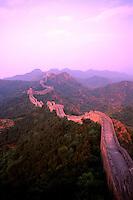 Colorful sunset at the great Wall of China in Jinshanlin