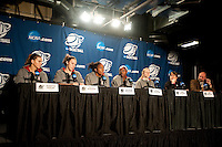 SPOKANE, WA - MARCH 27, 2011: Jeanette Pohlen, Kayla Pedersen, Nnemkadi Ogwumike, Chiney Ogwumike, Lindy La Rocque and Head Coach Tara VanDerveer during the off-day press conference, Stanford Women's Basketball vs University of North Carolina, NCAA West Regionals on March 27, 2011.
