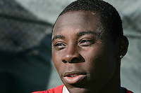 Freddy Adu during a practice session for the US men's national team at RFK auxiliary field on October 7, 2008 in Washington D.C. prior to the World Cup qualifying match against Cuba.