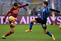 Gonzalo Villar of AS Roma and Nicolo Barella of FC Internazionale compete for the ball during the Serie A football match between AS Roma and FC Internazionale at Olimpico stadium in Roma (Italy), January 10th, 2021. Photo Andrea Staccioli / Insidefoto
