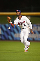 Buffalo Bisons right fielder Domonic Brown (9) drops a fly ball during a game against the Norfolk Tides on July 18, 2016 at Coca-Cola Field in Buffalo, New York.  Norfolk defeated Buffalo 11-8.  (Mike Janes/Four Seam Images)