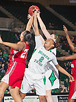 North Texas Mean Green forward Braylah Blakely (2) in action during the game between the Louisiana Lafayette Ragin' Cajuns and the University of North Texas Mean Green at the North Texas Coliseum,the Super Pit, in Denton, Texas. UNT defeats Louisiana Lafayette 78 to 40....