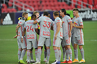 WASHINGTON, DC - SEPTEMBER 12: New York Red Bulls getting in the huddle during a game between New York Red Bulls and D.C. United at Audi Field on September 12, 2020 in Washington, DC.