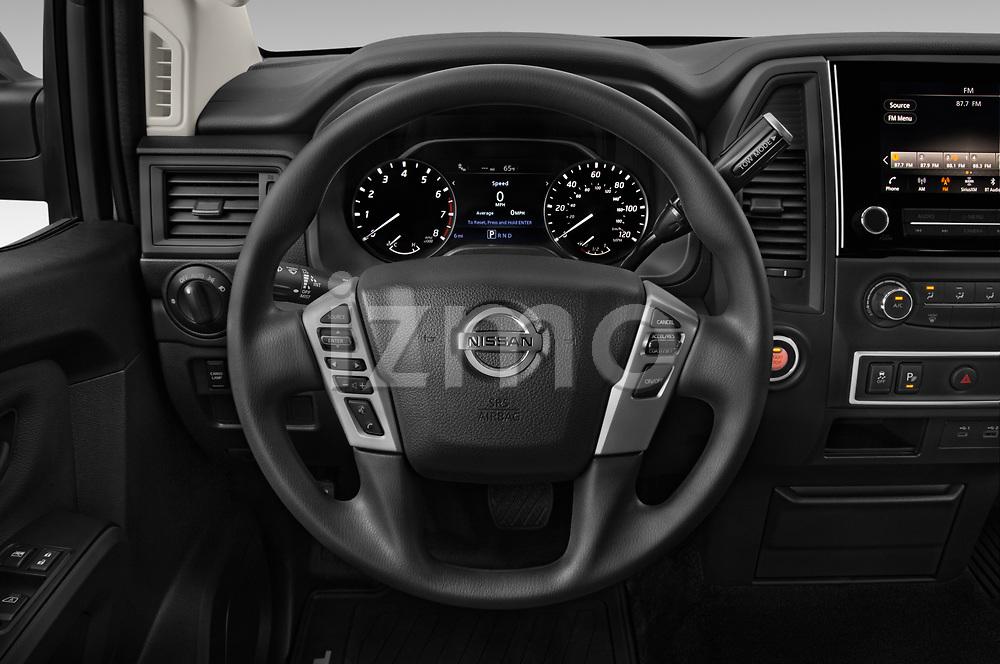 Car pictures of steering wheel view of a 2021 Nissan Titan S 4 Door Pick-up Steering Wheel