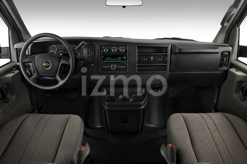 Straight dashboard view of a 2008 chevrolet express 3500 passenger van.