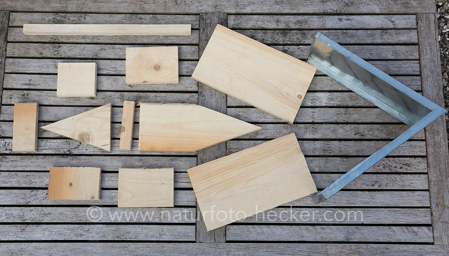 Selbstgebaute Holz-Nistkästen, Nistkasten für Vögel aus Holz, Vogelkasten, Meisenkasten selber bauen, selbst bauen, Basteln, Bastelei. Schritt 1: benötigtes Material bereits auf die richtigen Maße zugeschnitten