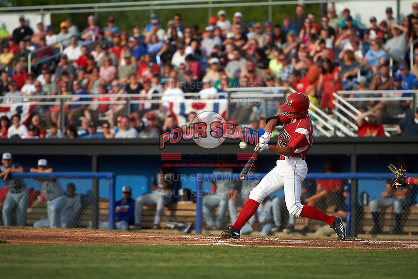 Batavia Muckdogs center fielder Corey Bird (12) at bat during a game against the Brooklyn Cyclones on July 4, 2016 at Dwyer Stadium in Batavia, New York.  Brooklyn defeated Batavia 5-1.  (Mike Janes/Four Seam Images)