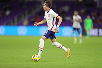 ORLANDO CITY, FL - JANUARY 31: Sam Vines #4 of the United States turns and moves with the ball during a game between Trinidad and Tobago and USMNT at Exploria stadium on January 31, 2021 in Orlando City, Florida.