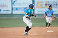 Christian Maggio (31) (Charleston Southern) of the Mooresville Spinners takes his lead off of second base against the Dry Pond Blue Sox at Moor Park on July 2, 2020 in Mooresville, NC.  The Spinners defeated the Blue Sox 9-4. (Brian Westerholt/Four Seam Images)