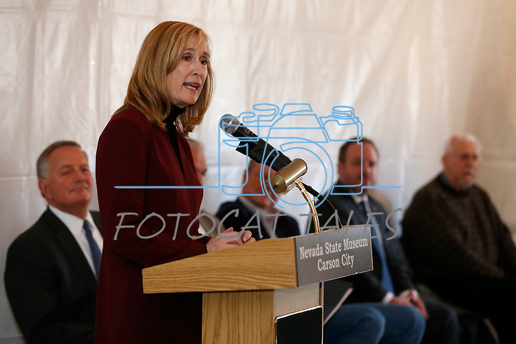Dana Bennett, president of the Nevada Mining Association, speaks at the celebration of the 150th year of the Carson City Mint at the Nevada State Museum, in Carson City, Nev. on Tuesday, Feb. 4, 2020. <br /> Photo by Cathleen Allison/Nevada Momentum