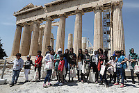 2016 05 09 Migrants are given tour of Acropolis by Minister Aristides Baltas,Athens,Greece