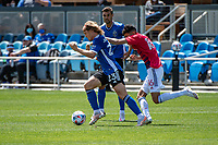 SAN JOSE, CA - APRIL 24: Florian Jungwirth #23 of the San Jose Earthquakes dribbles past Ricardo Pepi #16 of FC Dallas during a game between FC Dallas and San Jose Earthquakes at PayPal Park on April 24, 2021 in San Jose, California.