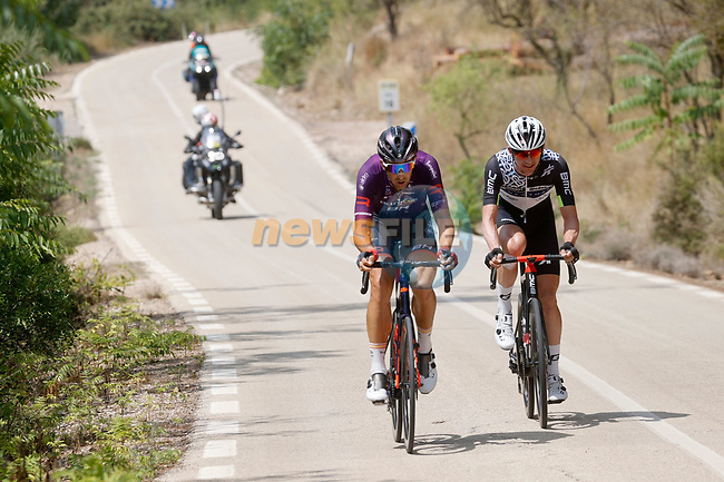 Bert Jan Lindeman (NED) Qhubeka NextHash and Jetse Bol (NED) Burgos-BH part of the breakaway during Stage 6 of La Vuelta d'Espana 2021, running 158.3km from Requena to Alto de la Montaña Cullera, Spain. 19th August 2021.    <br /> Picture: Luis Angel Gomez/Photogomezsport | Cyclefile<br /> <br /> All photos usage must carry mandatory copyright credit (© Cyclefile | Luis Angel Gomez/Photogomezsport)
