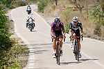 Bert Jan Lindeman (NED) Qhubeka NextHash and Jetse Bol (NED) Burgos-BH part of the breakaway during Stage 6 of La Vuelta d'Espana 2021, running 158.3km from Requena to Alto de la Montaña Cullera, Spain. 19th August 2021.    <br /> Picture: Luis Angel Gomez/Photogomezsport   Cyclefile<br /> <br /> All photos usage must carry mandatory copyright credit (© Cyclefile   Luis Angel Gomez/Photogomezsport)
