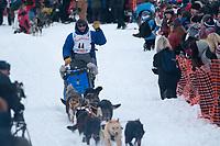 John Baker team leaves the start line during the restart day of Iditarod 2009 in Willow, Alaska