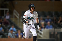 Salt River Rafters Seth Beer (8), of the Arizona Diamondbacks organization, hits a double during an Arizona Fall League game against the Mesa Solar Sox on September 27, 2019 at Salt River Fields at Talking Stick in Scottsdale, Arizona. Salt River defeated Mesa 6-1. (Zachary Lucy/Four Seam Images)