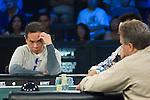 Thu Nguyen stares towards Mike Mclain after McClain made a bet.