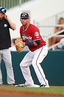 Fort Myers Miracle first baseman Bryan Haar (23) holds a runner on during a game against the Daytona Tortugas on June 17, 2015 at Hammond Stadium in Fort Myers, Florida.  Fort Myers defeated Daytona 9-5.  (Mike Janes/Four Seam Images)