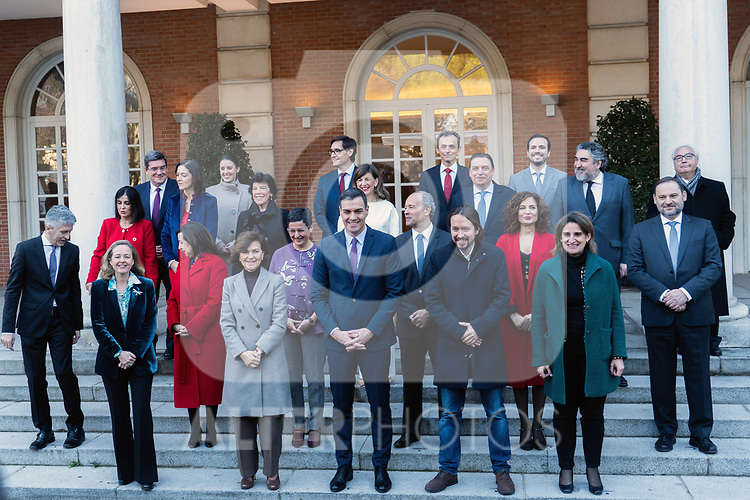 (L-R front row) Spain's Deputy Prime Minister of Economic Affairs Nadia Calvino, Spain's first Deputy Prime Minister and Minister of Presidency and Relations with Parliament Carmen Calvo, Spanish Prime Minister Pedro Sanchez, Spain's Deputy Prime Minister for Social Rights and Spain's 2030 Agenda Pablo Iglesias, Spain's Deputy Prime Minister of Ecological Transition and Demographic Challenge Teresa Ribera, (L-R second row) Spain's Minister of Interior Fernando Grande-Marlaska, Spain's Minister of Defence Margarita Robles, Spain's Minister of Foreign Affairs Arancha Gonzalez Laya, Spain's Minister of Justice Juan Carlos Campo, Spain's Minister of Budget Maria Jesus Montero, Spain's Minister of Transport, Mobility and Urban Agenda Jose Luis Abalos, (L-R third row) Spain's Minister of Regional Policy Carolina Darias, Spain's Minister for Industry and Tourism Reyes Maroto, Spain's Minister for Education and Vocational Training Isabel Celaa, Spain's Minister of Labor Yolanda Diaz, Spain's Minister for Agriculture, Fisheries and Food Luis Planas, Spain's Minister for Culture and Sports Jose Manuel Rodriguez Uribes, Spain's Minister of Universities Manuel Castells, (L-R back row) Spain's Minister of Social Security and Migration Jose Luis Escriva, Spain's Minister for Equality Irene Montero, Spain's Minister of Health Salvador Illa, Spain's Minister of Science and Innovation Pedro Duque, Spain's Minister of Consumer Affairs Alberto Garzon pose for a group picture before their first council meeting at Moncloa Palace on January 14, 2020 in Madrid, Spain. The Spanish Socialist party (PSOE) and Unidas Podemos (United We Can) party have formed the first coalition government since the end of the Franco Dictatorship. January 14,2020. (ALTERPHOTOS/Ander Beizama)