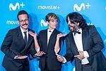 Sara Escudero, Joaquin Reyes and Jose Juan Vaquero attends to blue carpet of presentation of new schedule of Movistar+ at Queen Sofia Museum in Madrid, Spain. September 12, 2018. (ALTERPHOTOS/Borja B.Hojas)