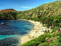 Early summer morning at the Hanauma Bay Beach. Oahu, Hawaii